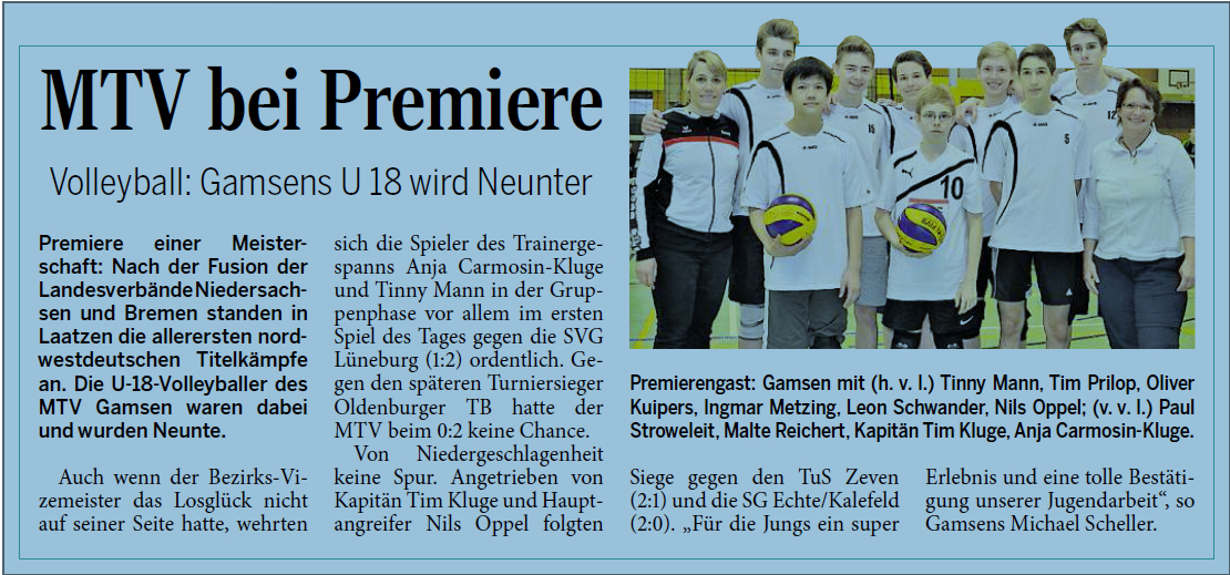 Volleyball: Gamsens U18 wird Neunter